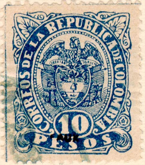 Colombia_1891_Coat_of_Arms_10p_Fournier_Forgery1