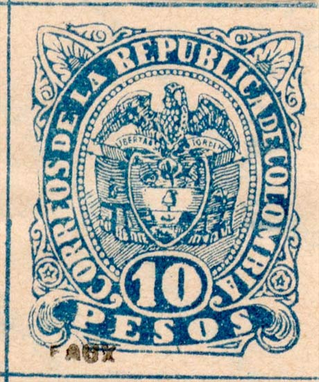 Colombia_1891_Coat_of_Arms_10p_Fournier_Forgery2