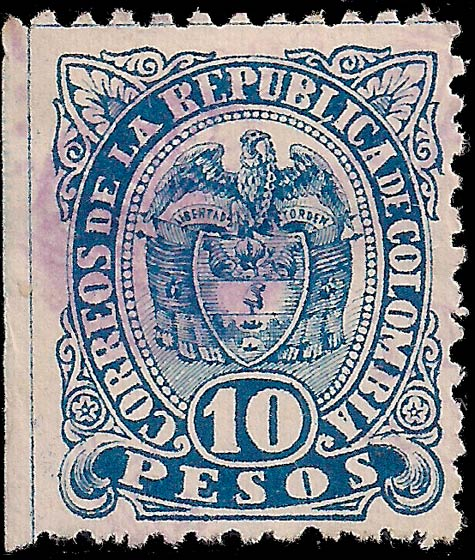 Colombia_1891_Coat_of_Arms_10p_Genuine