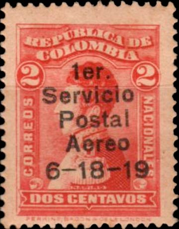 Colombia_1917_Servicio_Postal_Aereo_overprint_Forgery