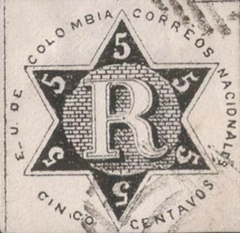 Colombia_Registration_Stamp2_1865_5c_Forgery3