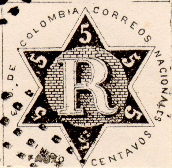 Colombia_Registration_Stamp2_1865_5c_Fournier_Forgery