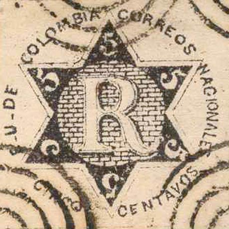 Colombia_Registration_Stamp_1865_5c_Forgery