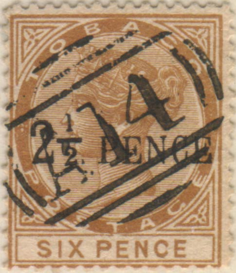 Tobago_QV_2half_Penny_on_Six_Pence_Panelli_Forgery
