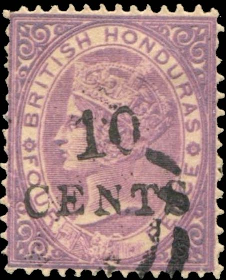 British_Honduras_1888_QV_4p_Surcharged_10-Cents_Forgery