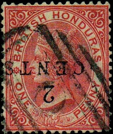 British_Honduras_QV_1p_2c_Overprint_Forgery