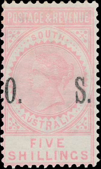 South_Australia_1891_Postage_and_Revenue_5s_OS_Forgery