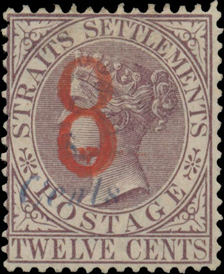 Strait_Settlements_1884_QV_8cents_blue_Surcharge_Genuine