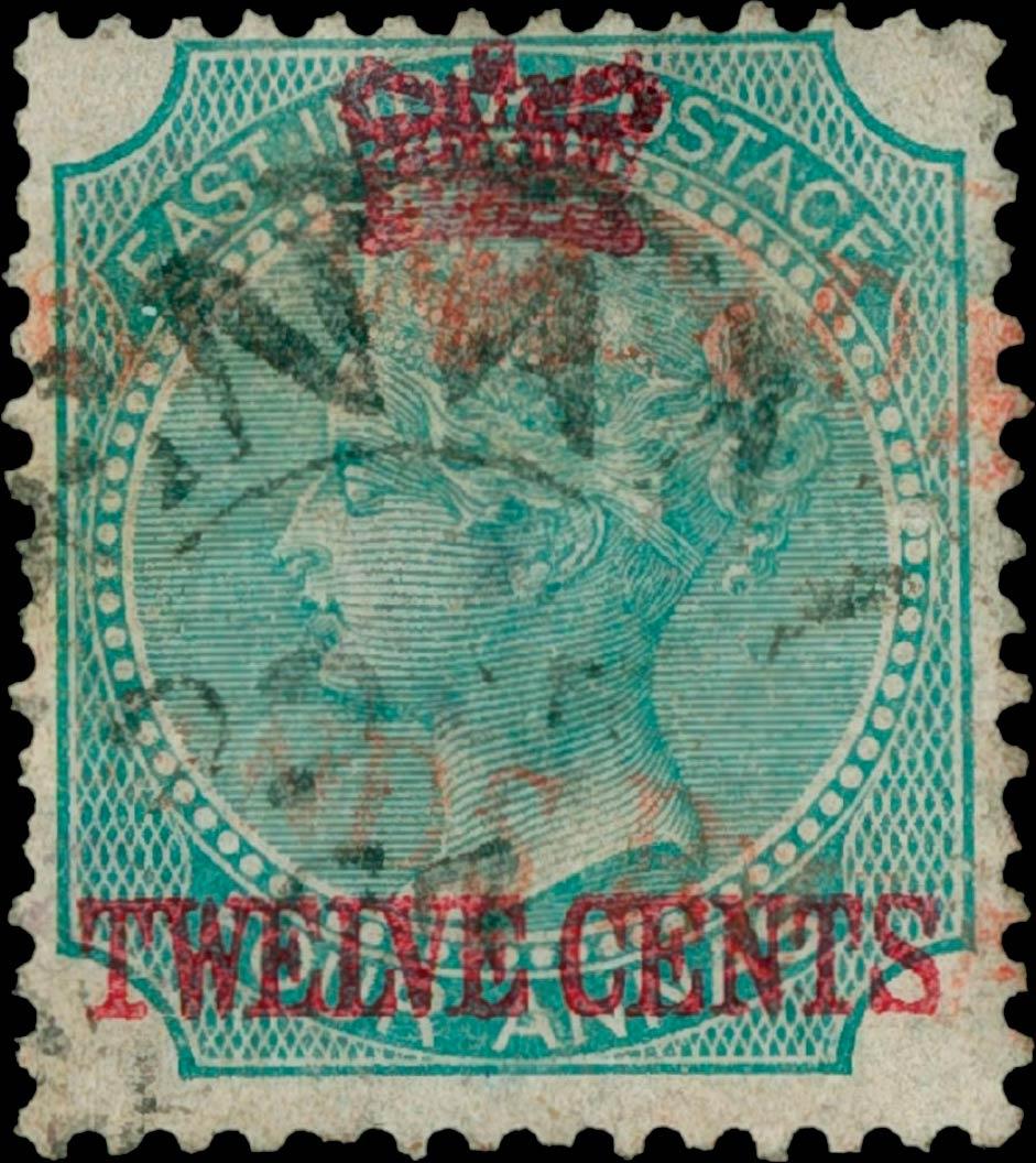Straits_Settlements_1867_QV_12c-on-4a_Genuine