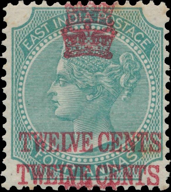 Straits_Settlements_1867_QV_12c-on-4a_double_Genuine