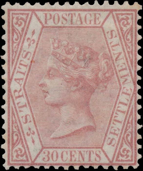 Straits_Settlements_1872_QV_30p_Genuine