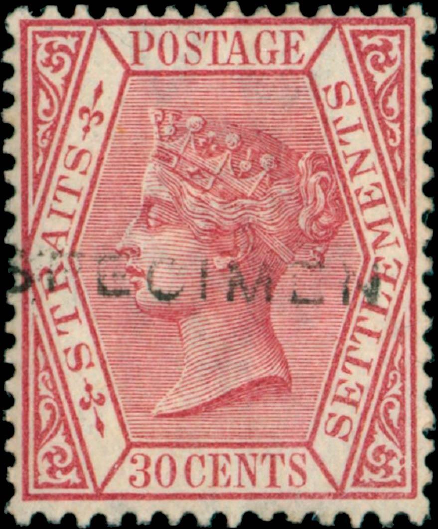 Straits_Settlements_1872_QV_30p_Specimen_Genuine