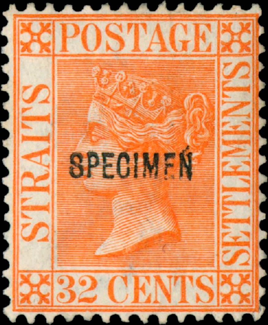 Straits_Settlements_QV_32p_Specimen_Genuine