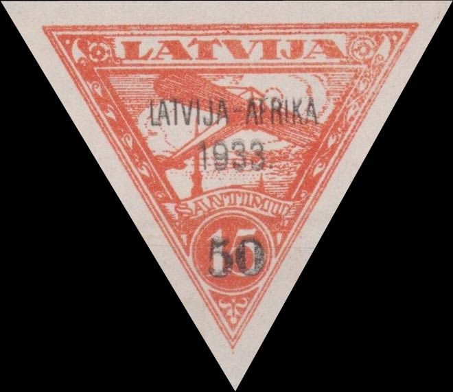 Latvia_1933_Airmail_Latvia-Gambia-overprint_15s_Forgery