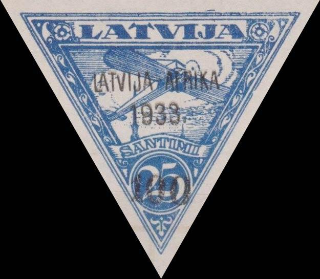 Latvia_1933_Airmail_Latvia-Gambia-overprint_25s_Forgery