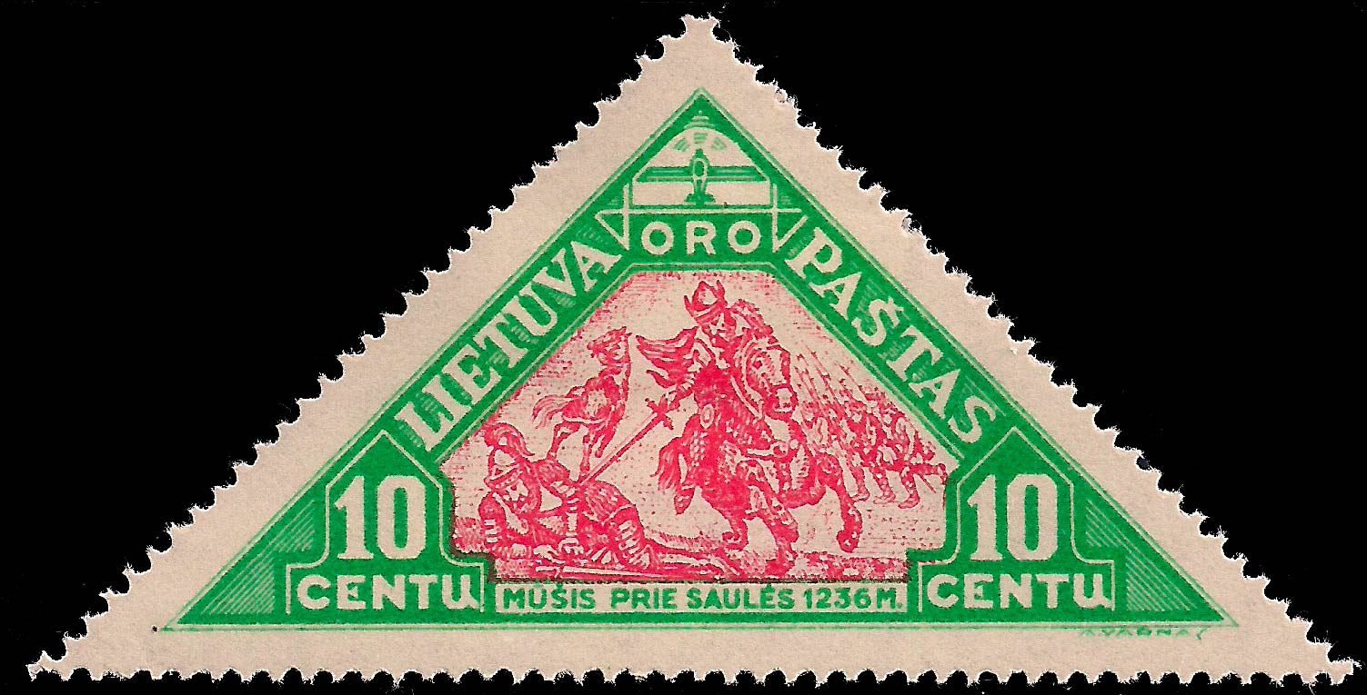 Lithuania_1932_Airmail_10c_Genuine