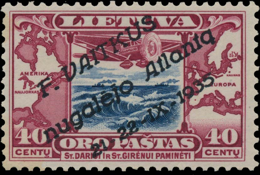 Lithuania_1935_Airmail_40cent_Surcharged_Genuine