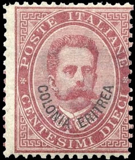 Eritrea_1893_Surcharged_Colonia_Eritrea_10c_Genuine