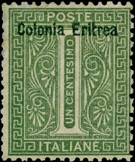 Eritrea_1893_Surcharged_Colonia_Eritrea_1c_Genuine