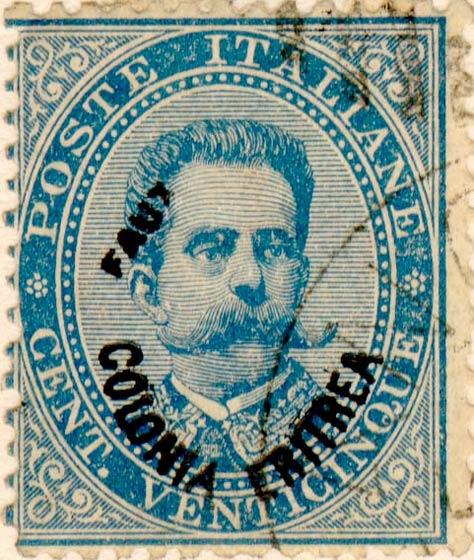 Eritrea_1893_Surcharged_Colonia_Eritrea_25c_Fournier_Forgery