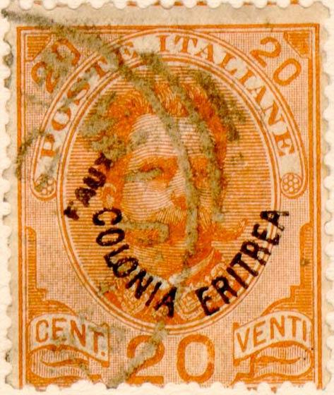Eritrea_1895_Surcharged_Colonia_Eritrea_20c_Fournier_Forgery