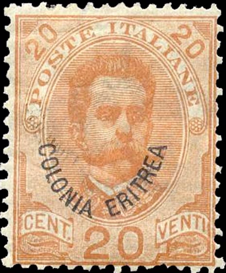 Eritrea_1895_Surcharged_Colonia_Eritrea_20c_Genuine