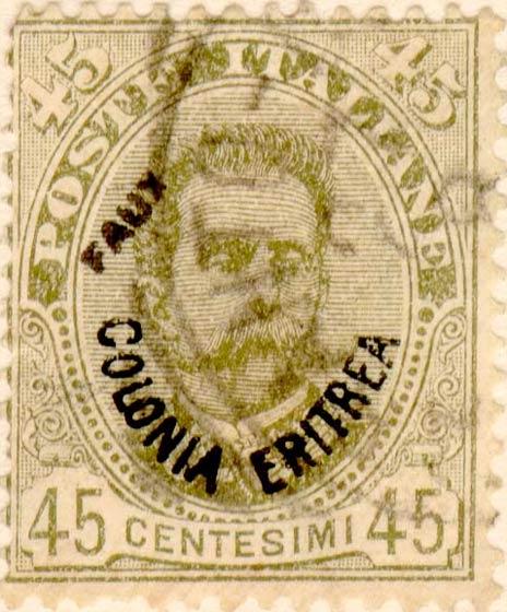 Eritrea_1895_Surcharged_Colonia_Eritrea_45c_Fournier_Forgery