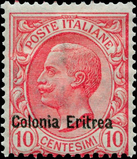 Eritrea_1908_Surcharged_Colonia_Eritrea_10c_Genuine