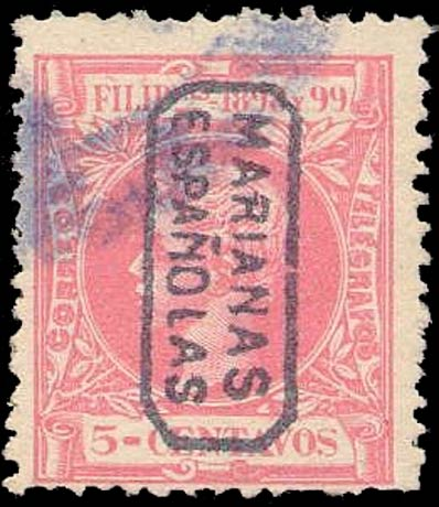 Mariana_Islands_1899_Phillipines_overprinted_5c_Forgery