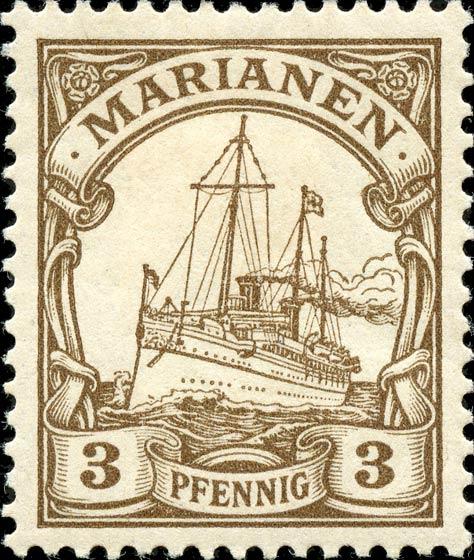 Marianen_1901_Kaiseryacht_3pf_Genuine