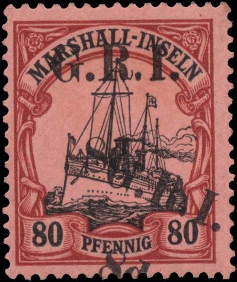 Marshall_Islands_GRI_8d_Kaiseryacht_80pf_Genuine_double_overprint