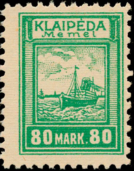 Memel_Klaipeda_1923_80mark_Genuine