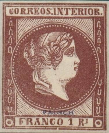 Philippines_1859_Queen_Isabella_1r_brown_Forgery