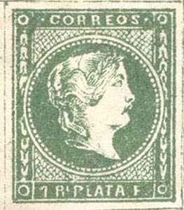Philippines_1859_Queen_Isabella_1r_green_Forgery
