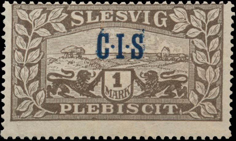 Slesvig_Plebiscit_1920_1mark_CIS_Double_Overprint_Genuine