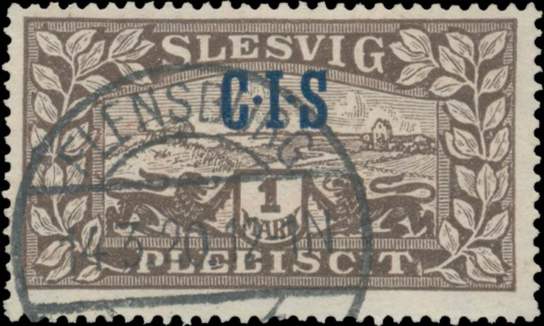 Slesvig_Plebiscit_1920_1mark_CIS_Overprint_Genuine