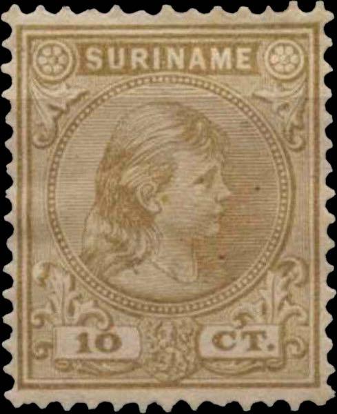 Surinam_1893_Queen_Wilhelmina_10c_Genuine