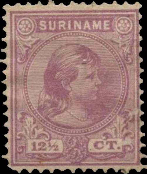 Surinam_1893_Queen_Wilhelmina_12-5c_Genuine