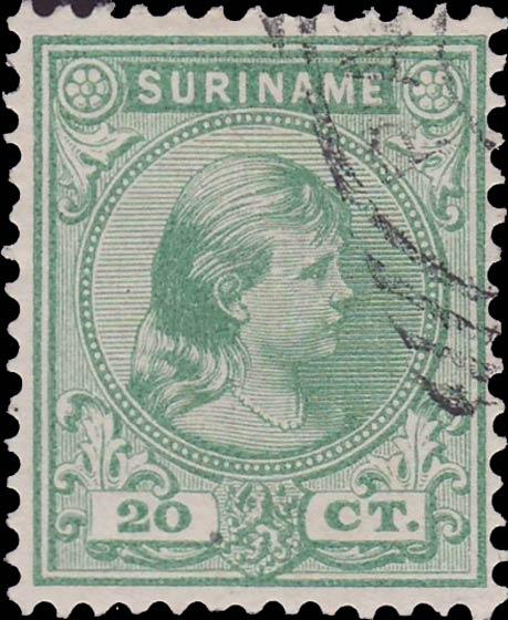 Surinam_1893_Queen_Wilhelmina_20c_Genuine