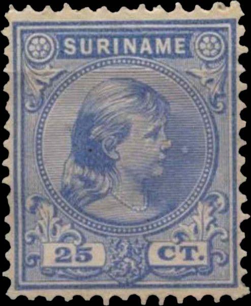 Surinam_1893_Queen_Wilhelmina_25c_Genuine