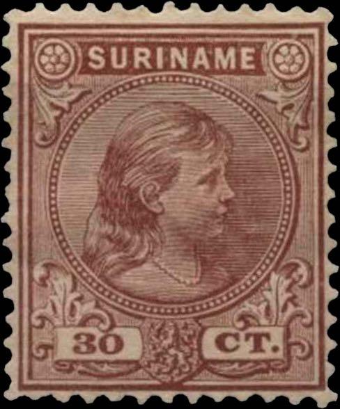 Surinam_1893_Queen_Wilhelmina_30c_Genuine