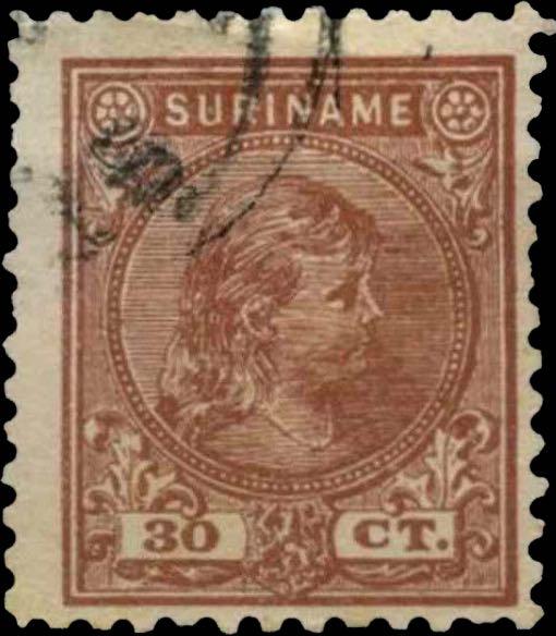 Surinam_1893_Queen_Wilhelmina_30c_Pasche_Forgery