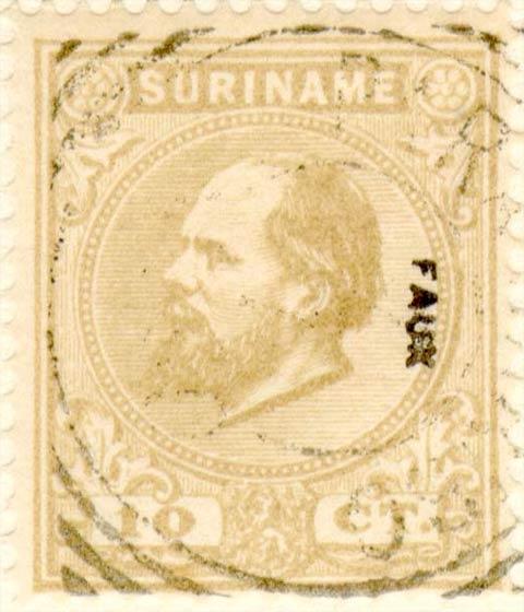 Suriname_1873-1875_King_Wilhelm_III_10c_Fournier_Forgery