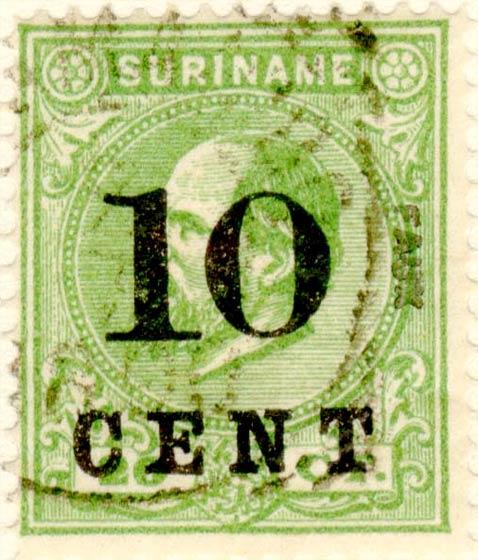 Suriname_1898_King_Wilhelm_III_10c_on_20c_Fournier_Forgery