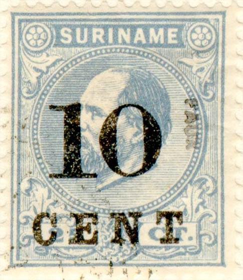 Suriname_1898_King_Wilhelm_III_10c_on_25c_Fournier_Forgery