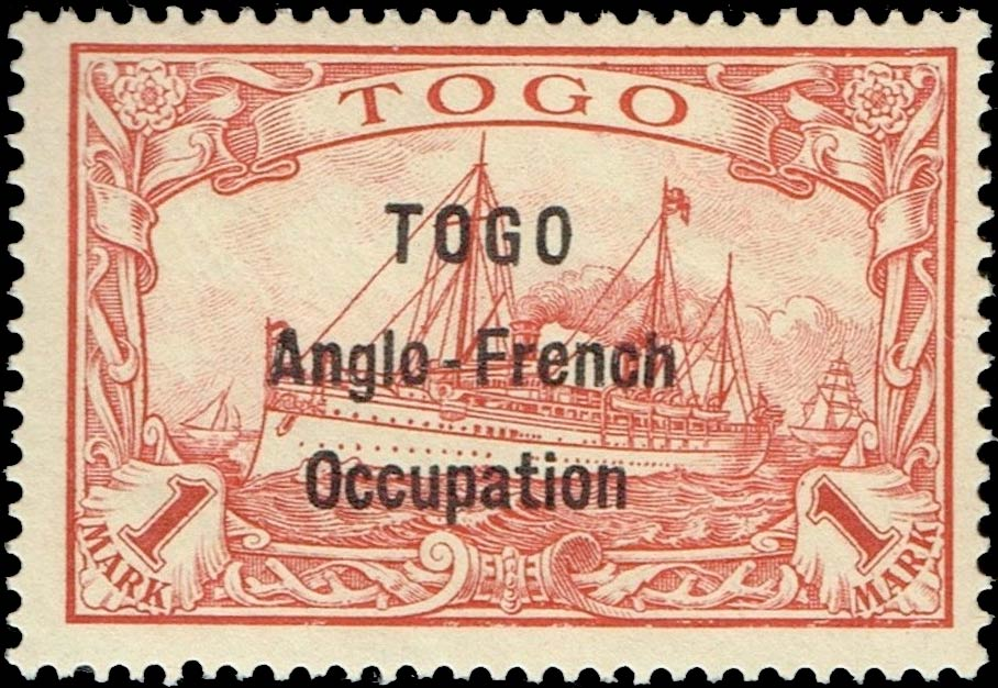 Togo_1915_French_Occupation_1mark_Forged_Overprint