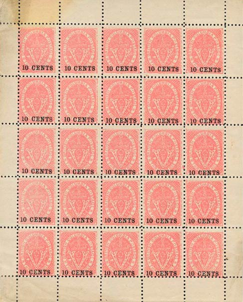 British_Columbia_1869_10cents_Spriro-sheet_Forgery