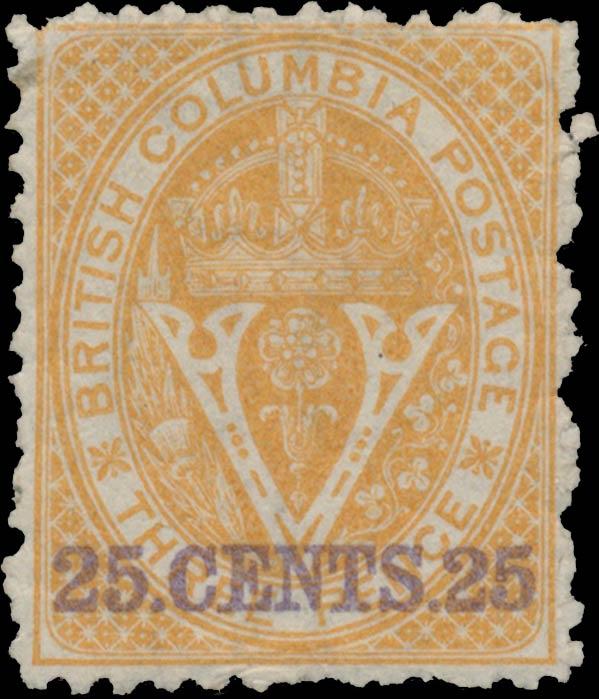 British_Columbia_1869_25c_Genuine