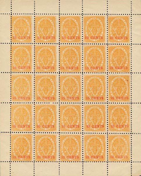 British_Columbia_1869_25cents_Spriro-sheet_Forgery