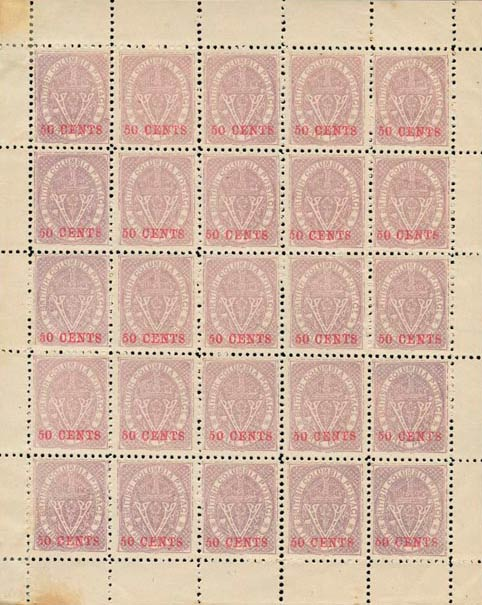 British_Columbia_1869_50cents_Spriro-sheet_Forgery